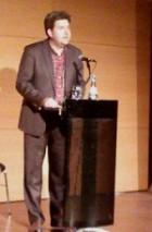 Professor Kreuder bei seinem Vortrag über Büchners Woyzeck